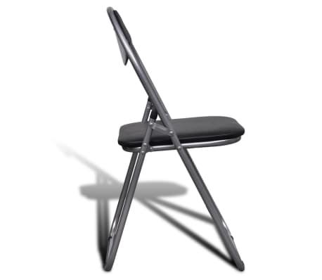 vidaXL Valgomojo kėdės, 6 vnt., sulankstomos, plieninis rėmas, juodos[4/10]