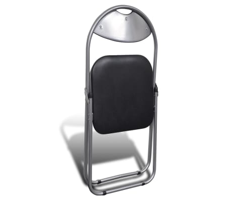 vidaXL Valgomojo kėdės, 6 vnt., sulankstomos, plieninis rėmas, juodos[5/10]