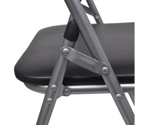 vidaXL Valgomojo kėdės, 6 vnt., sulankstomos, plieninis rėmas, juodos[7/10]