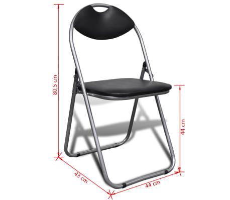 vidaXL Valgomojo kėdės, 6 vnt., sulankstomos, plieninis rėmas, juodos[10/10]