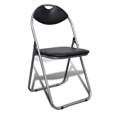 vidaXL Valgomojo kėdės, 6 vnt., sulankstomos, plieninis rėmas, juodos[2/10]