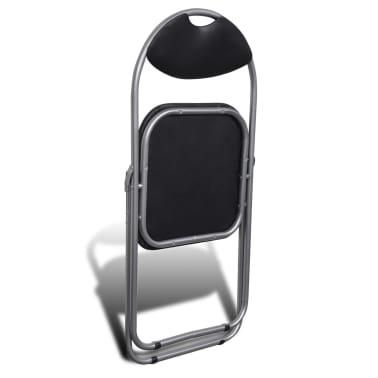 vidaXL Valgomojo kėdės, 6 vnt., sulankstomos, plieninis rėmas, juodos[6/10]