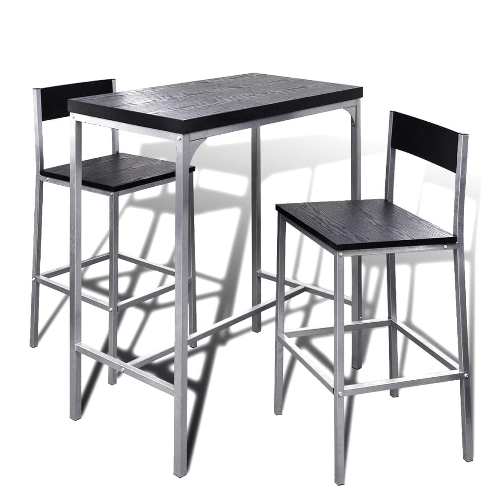 Dettagli su Moderno Set da Bar Alto Tavolo Sgabelli Cucina da Interno 1  Tavolo alto 2 Sedie