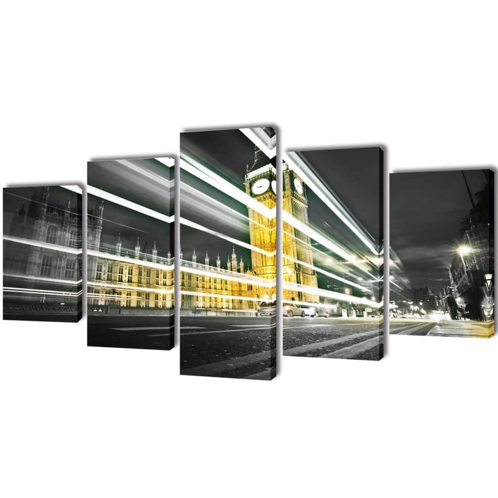 Sada obrazů, tisk na plátně, Londýn Big Ben, 100 x 50 cm
