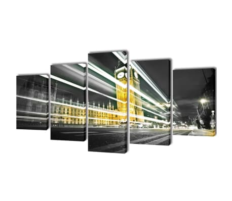Canvas Wall Print Set London Big Ben 100 x 50 cm[1/3]