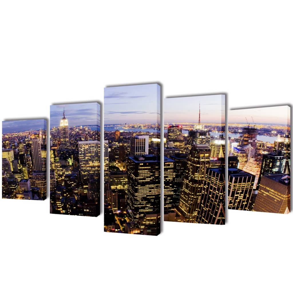 vidaXL 5 pz Set Stampa su Tela da Muro Vista dall'Alto su New York 200x100 cm