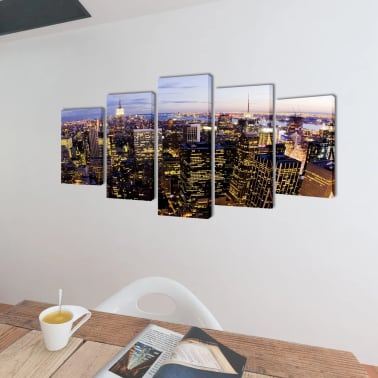 "Canvas Wall Print Set Birds Eye View of New York Skyline 79"" x 39""[2/3]"