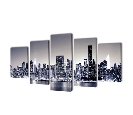 "Canvas Wall Print Set Monochrome New York Skyline 39"" x 20""[1/3]"