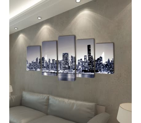 "Canvas Wall Print Set Monochrome New York Skyline 39"" x 20""[2/3]"