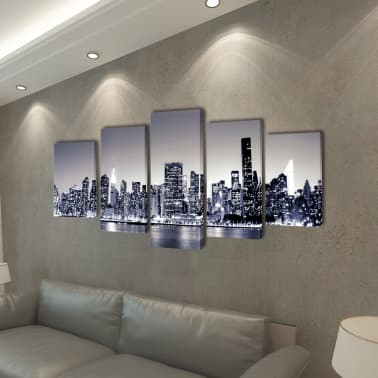 "Canvas Wall Print Set Monochrome New York Skyline 79"" x 39""[2/3]"