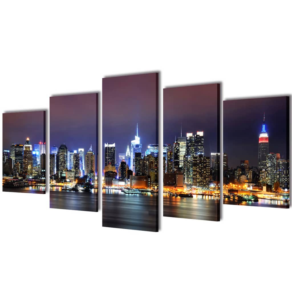 vidaXL Canvas Wall Print Set Colourful New York Skyline 100 x 50 cm