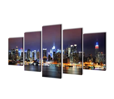"Canvas Wall Print Set Colorful New York Skyline 39"" x 20""[1/3]"