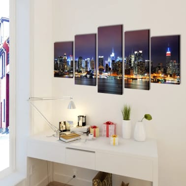 "Canvas Wall Print Set Colorful New York Skyline 39"" x 20""[2/3]"