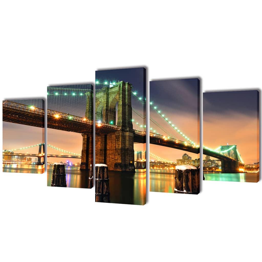 Sada obrazů, tisk na plátně, Brooklynský most,100 x 50 cm