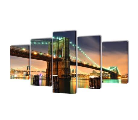 "Canvas Wall Print Set Brooklyn Bridge 39"" x 20""[1/3]"