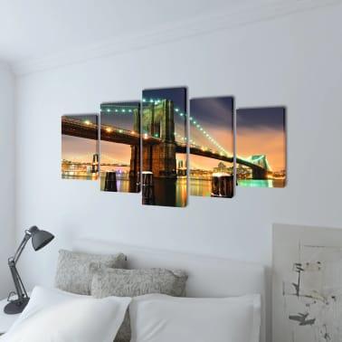 "Canvas Wall Print Set Brooklyn Bridge 39"" x 20""[2/3]"