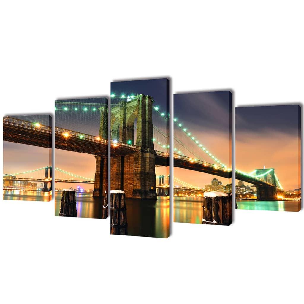Sada obrazů, tisk na plátně, Brooklynský most, 200 x 100 cm
