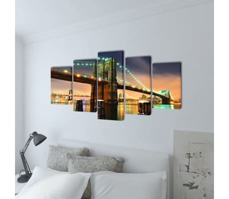 "Canvas Wall Print Set Brooklyn Bridge 79"" x 39""[2/3]"