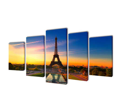 "Canvas Wall Print Set Eiffel Tower 79"" x 39""[1/3]"