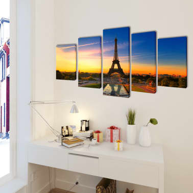 "Canvas Wall Print Set Eiffel Tower 79"" x 39""[2/3]"
