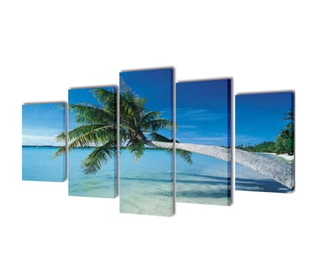 "Canvas Wall Print Set Sand Beach with Palm Tree 39"" x 20"""