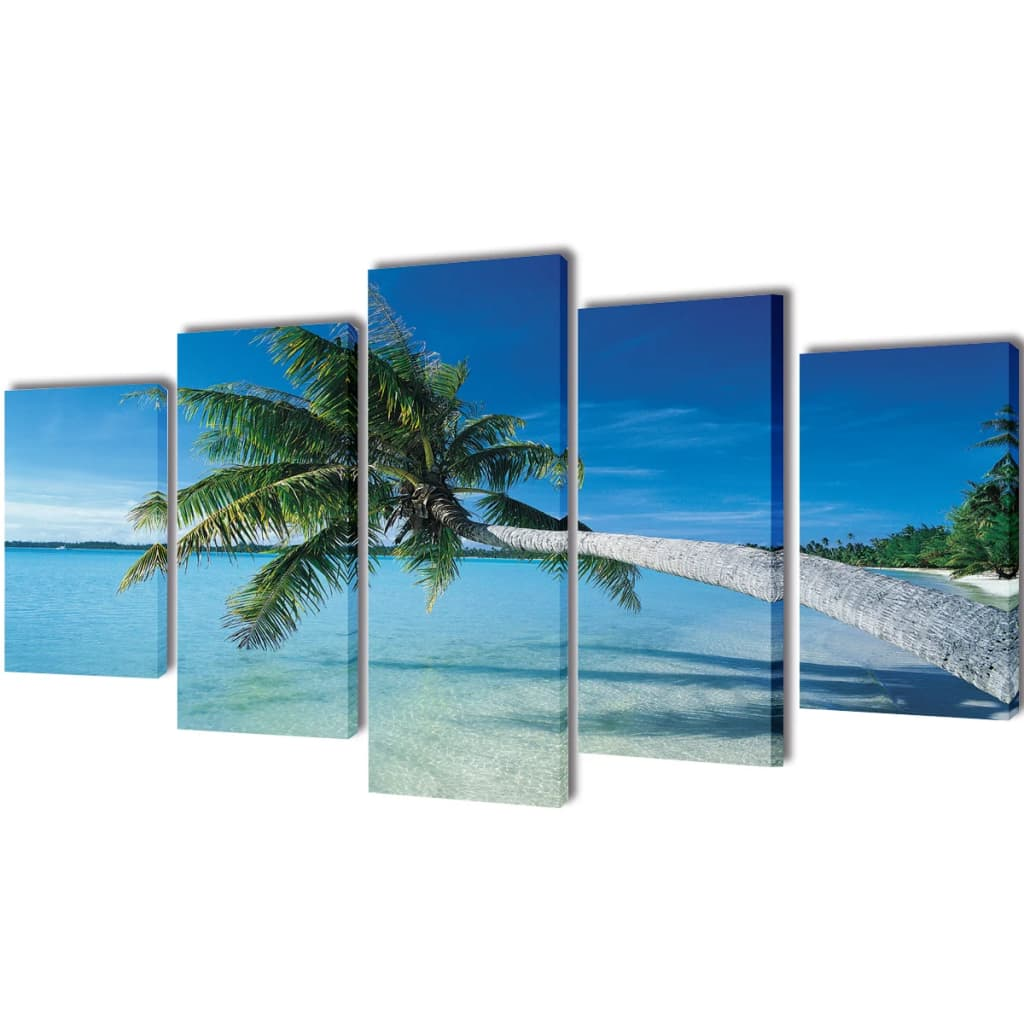 Set tablouri de perete cu imprimeu plajă nisip și palmier, 200x100cm imagine vidaxl.ro