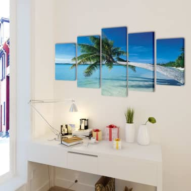 "Canvas Wall Print Set Sand Beach with Palm Tree 79"" x 39""[2/3]"