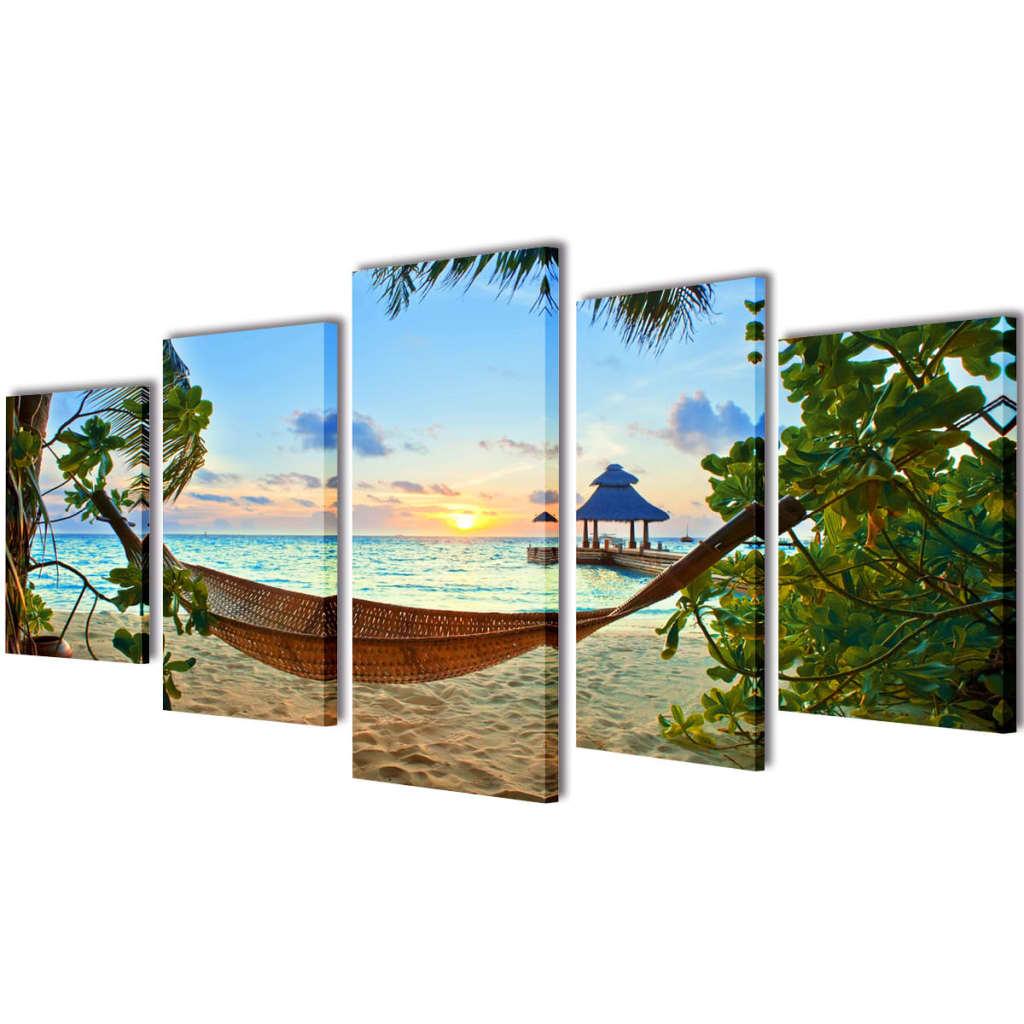 Sada obrazů, tisk na plátně, písečná pláž s houpací sítí, 100 x 50 cm