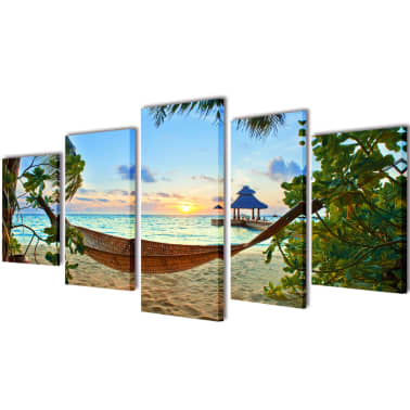 "Canvas Wall Print Set Sand Beach with Hammock 39"" x 20""[1/3]"