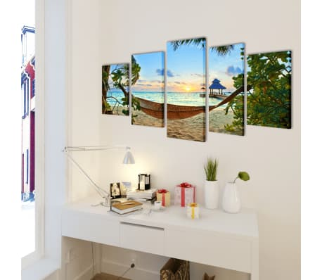 "Canvas Wall Print Set Sand Beach with Hammock 39"" x 20""[2/3]"