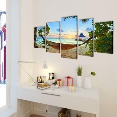 "Canvas Wall Print Set Sand Beach with Hammock 39"" x 20""[2/3]"
