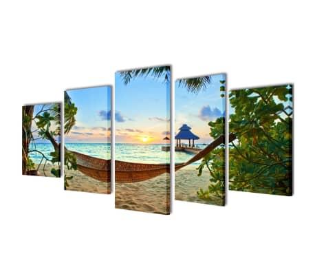 "Canvas Wall Print Set Sand Beach with Hammock 79"" x 39""[1/3]"