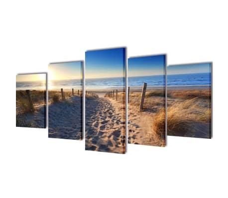 """Canvas Wall Print Set Sand Beach 39"""" x 20""""[1/3]"""