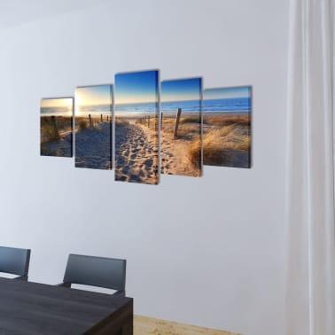 """Canvas Wall Print Set Sand Beach 39"""" x 20""""[2/3]"""