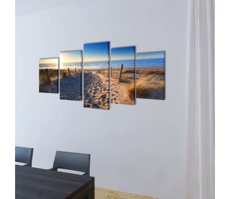 "Canvas Wall Print Set Sand Beach 79"" x 39""[2/3]"