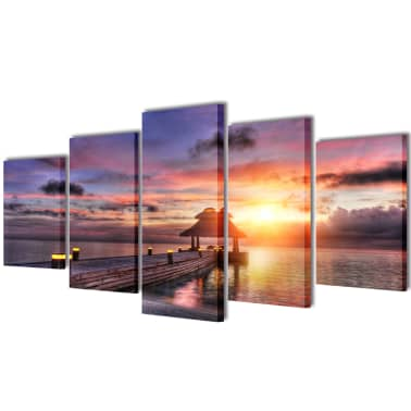 "Canvas Wall Print Set Beach with Pavilion 79"" x 39""[1/3]"