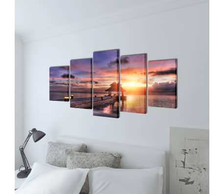 "Canvas Wall Print Set Beach with Pavilion 79"" x 39""[2/3]"