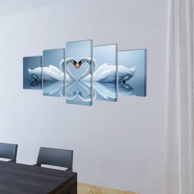 "Canvas Wall Print Set Swan 39"" x 20""[2/3]"