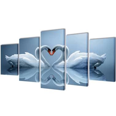 "Canvas Wall Print Set Swan 79"" x 39""[1/3]"