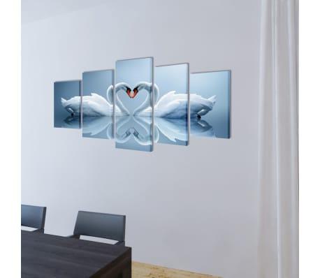 "Canvas Wall Print Set Swan 79"" x 39""[2/3]"
