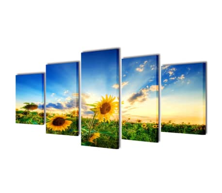 Canvas Wall Print Set Sunflower 100 x 50 cm