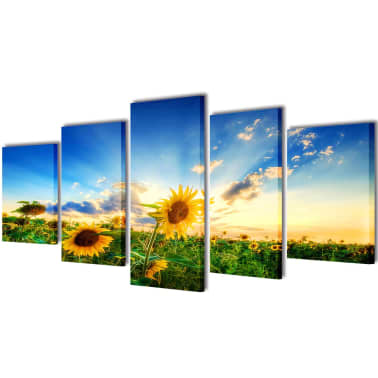 "Canvas Wall Print Set Sunflower 39"" x 20""[1/3]"