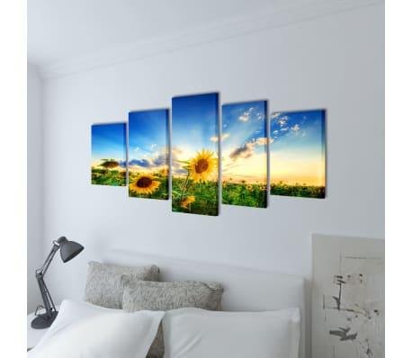 """Canvas Wall Print Set Sunflower 39"""" x 20""""[2/3]"""