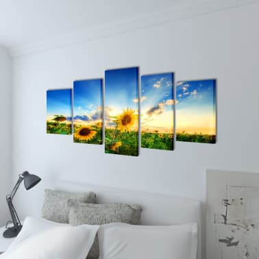 "Canvas Wall Print Set Sunflower 39"" x 20""[2/3]"