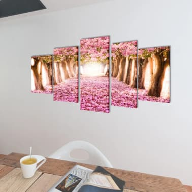 "Canvas Wall Print Set Cherry Blossom 39"" x 20""[2/3]"