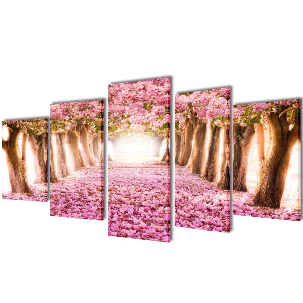 Set tablouri de pânză cireși în floare 200 x 100 cm imagine vidaxl.ro