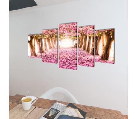 "Canvas Wall Print Set Cherry Blossom 79"" x 39""[2/3]"