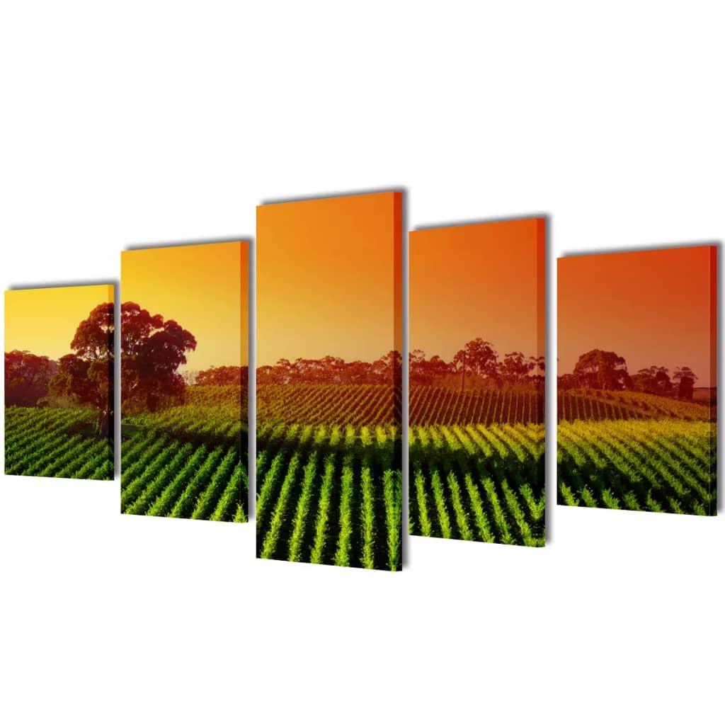 Set tablouri pânză imprimeu câmp 200 x 100 cm imagine vidaxl.ro