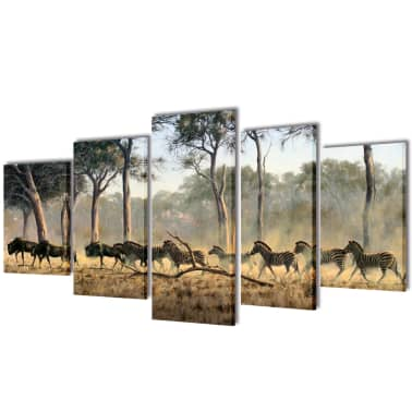 "Canvas Wall Print Set Zebras 39"" x 20""[1/3]"