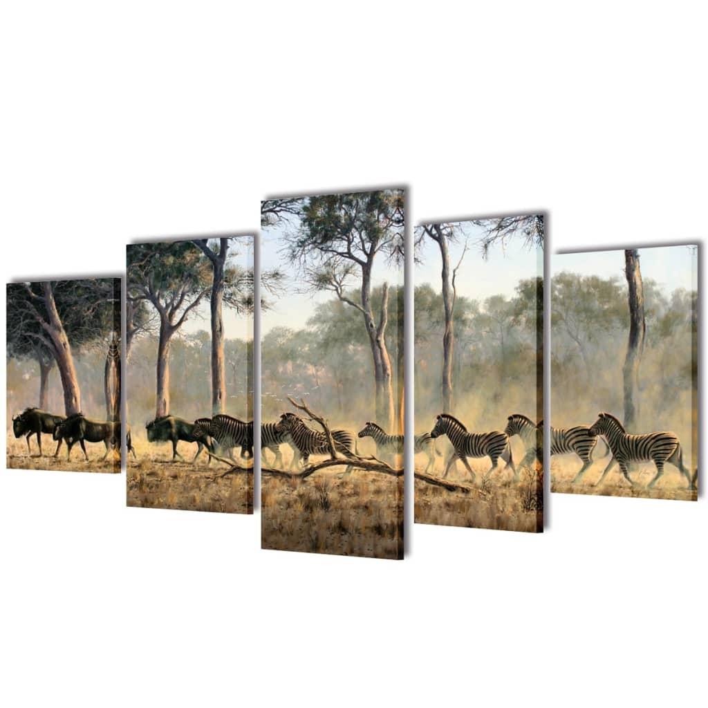 Set tablouri imprimate de pânză Zebre 200 x 100 cm imagine vidaxl.ro